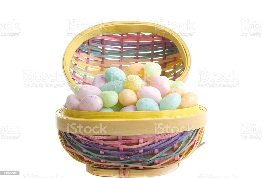 Easter Egg basket with candy royalty-free stock photo