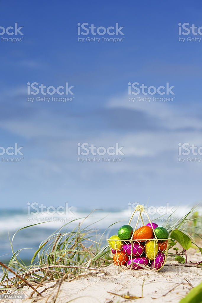 Easter Egg Beach Basket royalty-free stock photo
