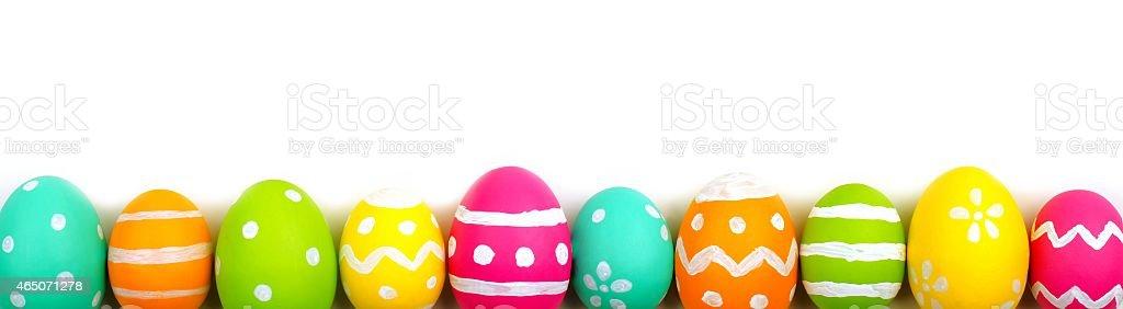 Easter egg border over white stock photo