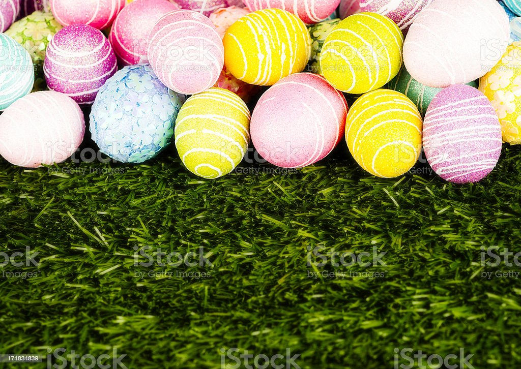 Easter Egg Border with Grass royalty-free stock photo