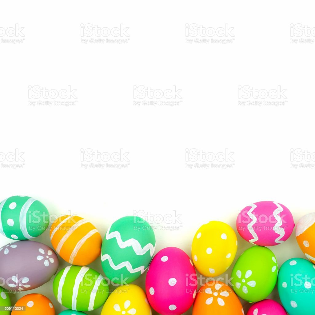 Easter egg bottom border over white stock photo