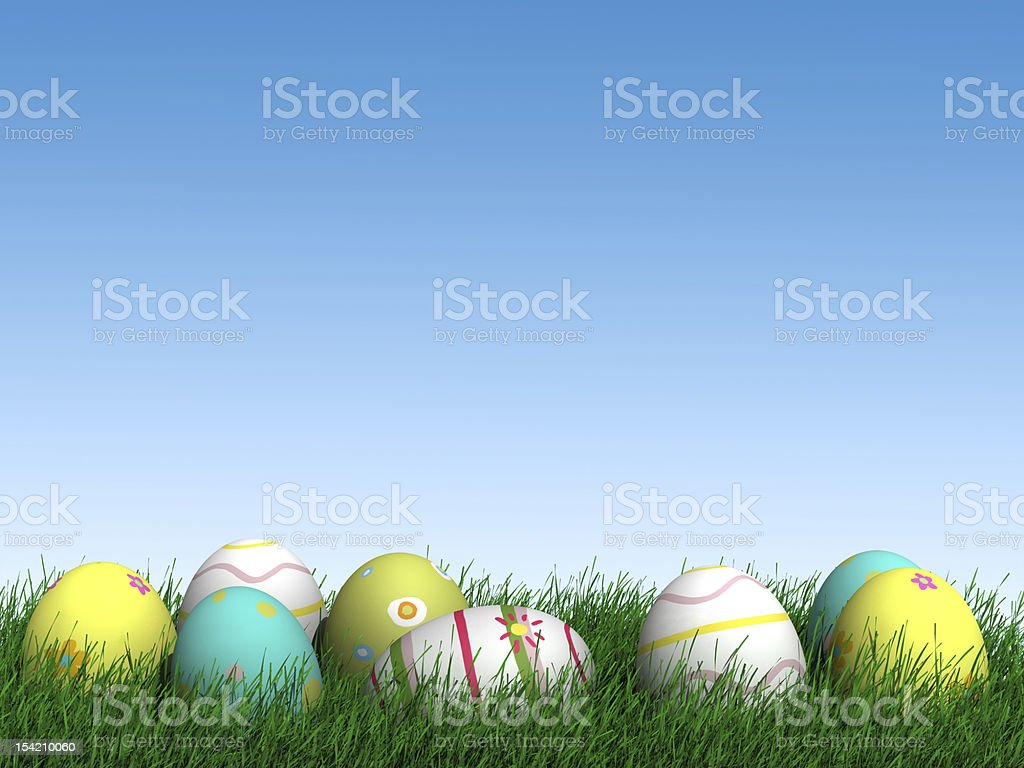 easter egg collection in grass stock photo
