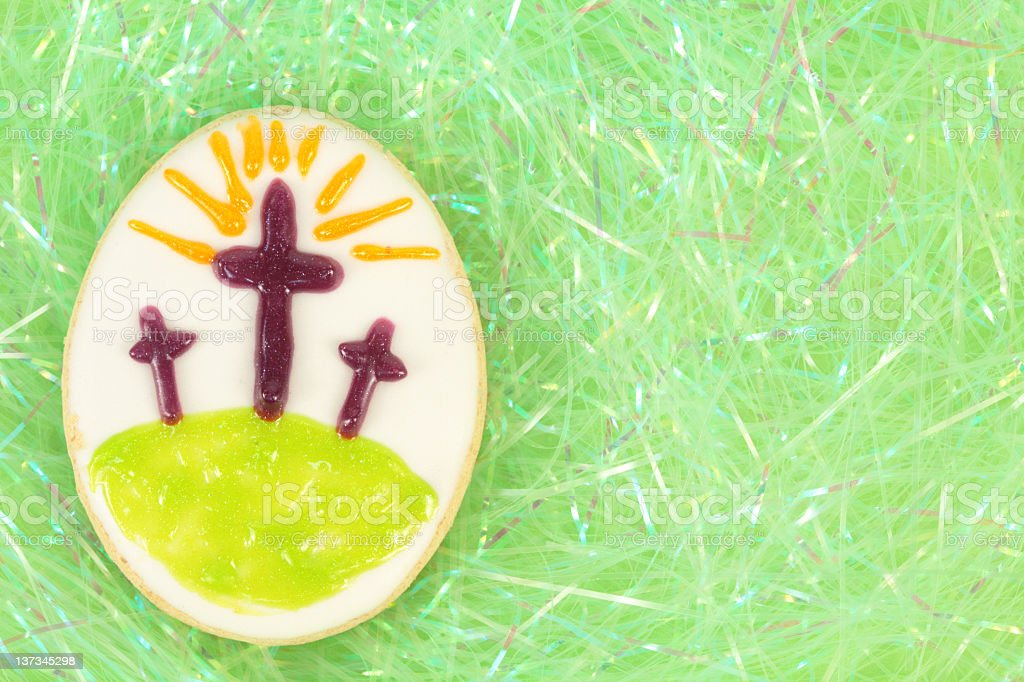 Easter Egg Cookie with Crosses royalty-free stock photo