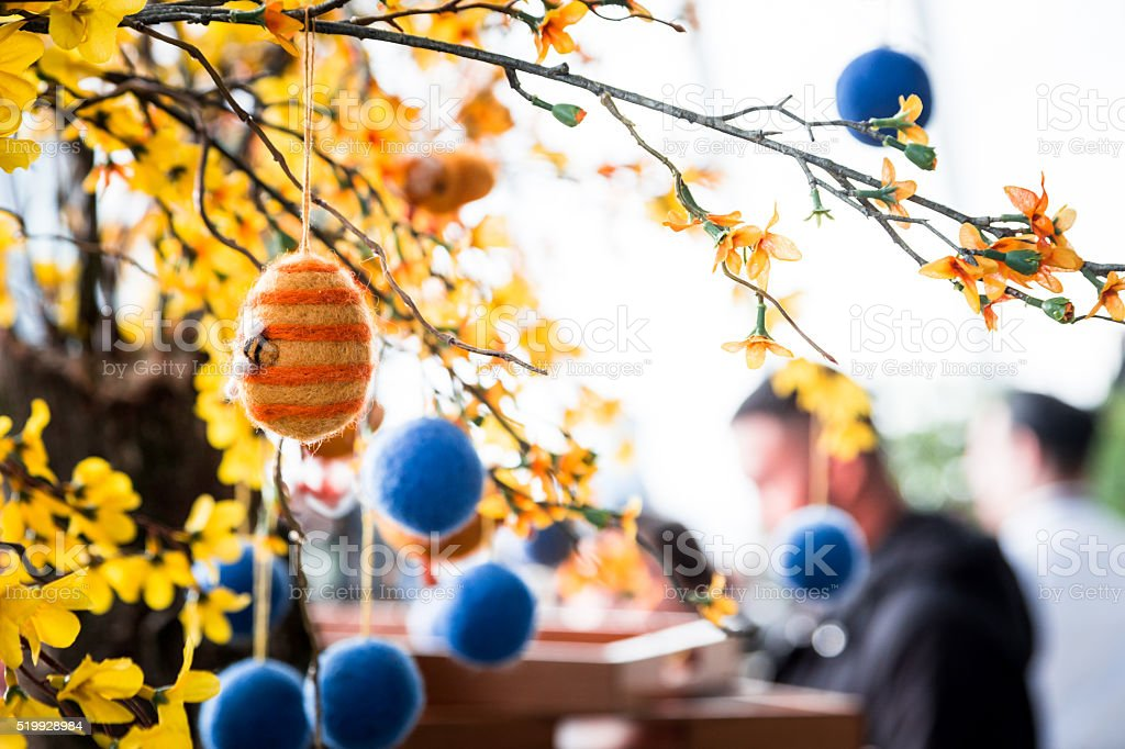 Easter Egg Decoration Display in London Cafe stock photo