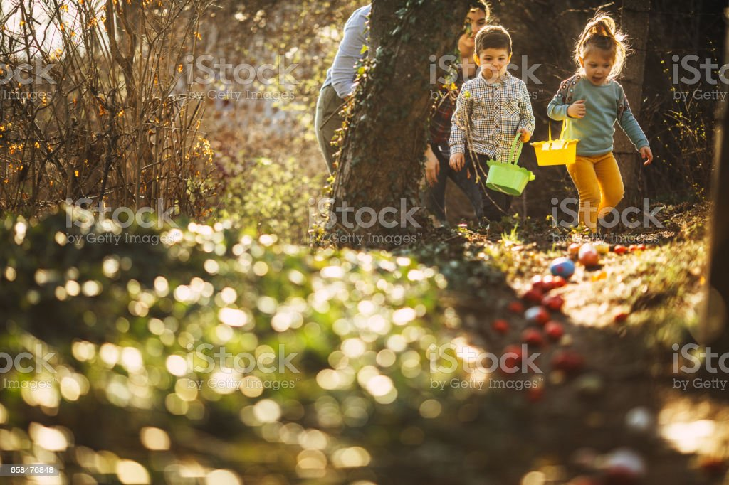 Easter egg hunt in nature stock photo