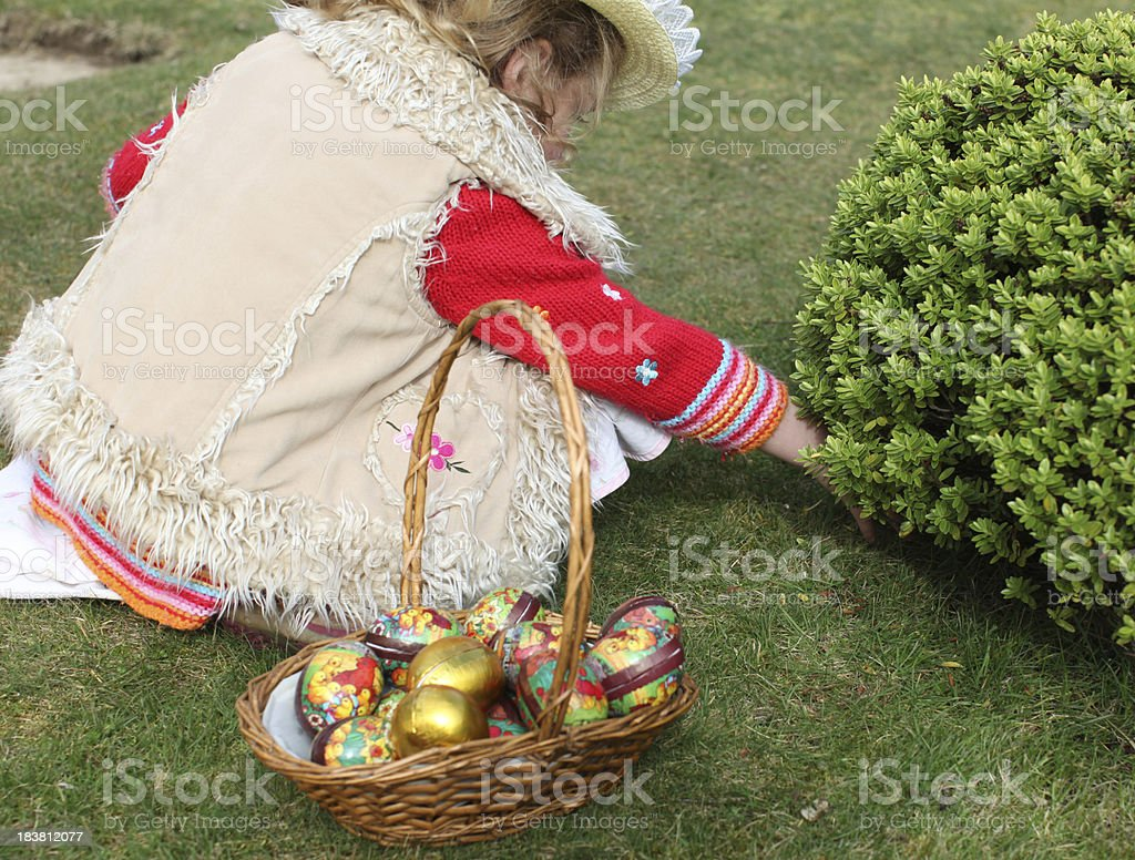 Easter egg hunt search stock photo