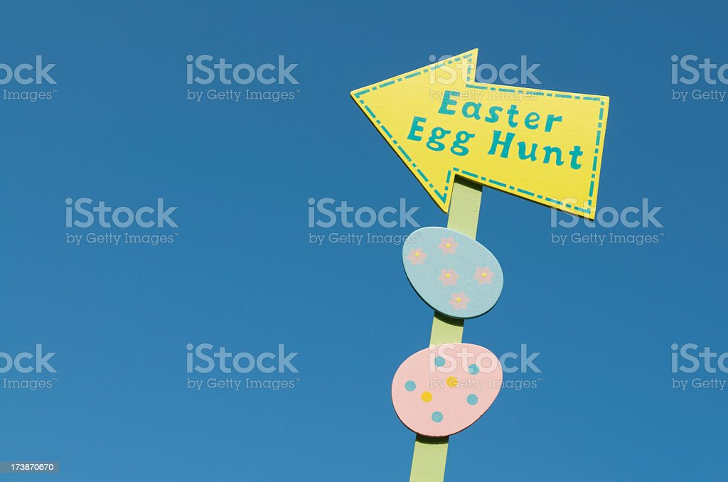 Easter Egg Hunt Sign Bright Blue Spring Sky royalty-free stock photo