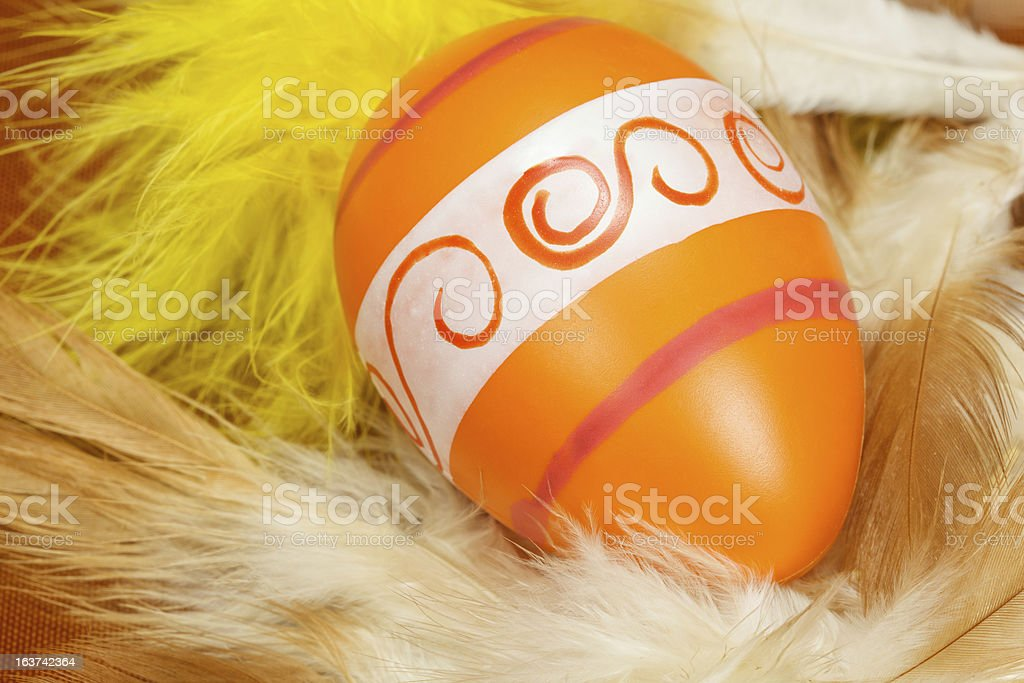 Easter egg in feather nest royalty-free stock photo