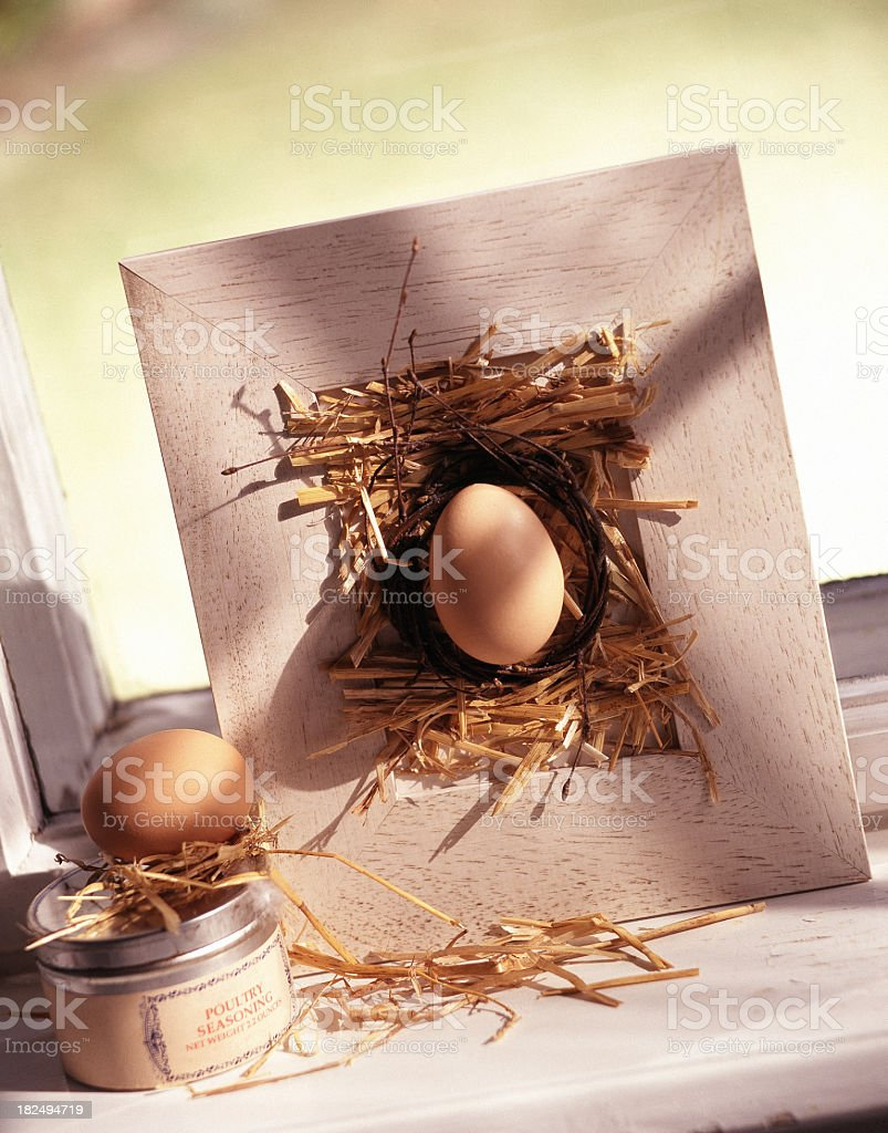 Easter egg in frame stock photo