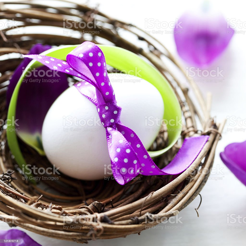 easter egg in nest royalty-free stock photo