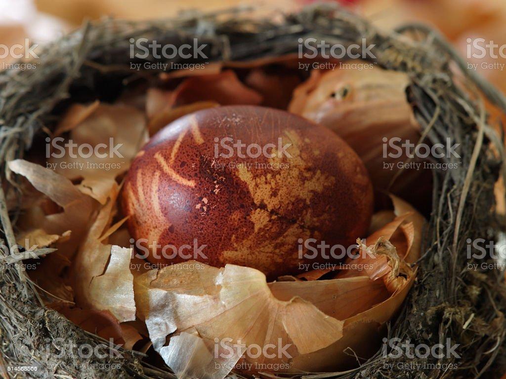 Easter egg in onion peel bird's nest royalty-free stock photo