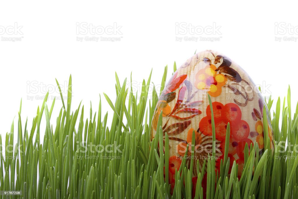 Easter egg in the grass isolated on white royalty-free stock photo