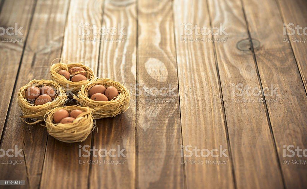 easter egg nest background on wood royalty-free stock photo