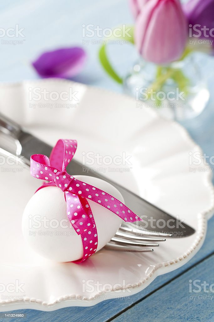 easter egg on a plate royalty-free stock photo