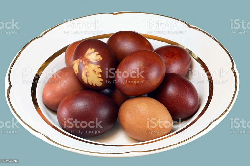 Easter egg on white plate royalty-free stock photo
