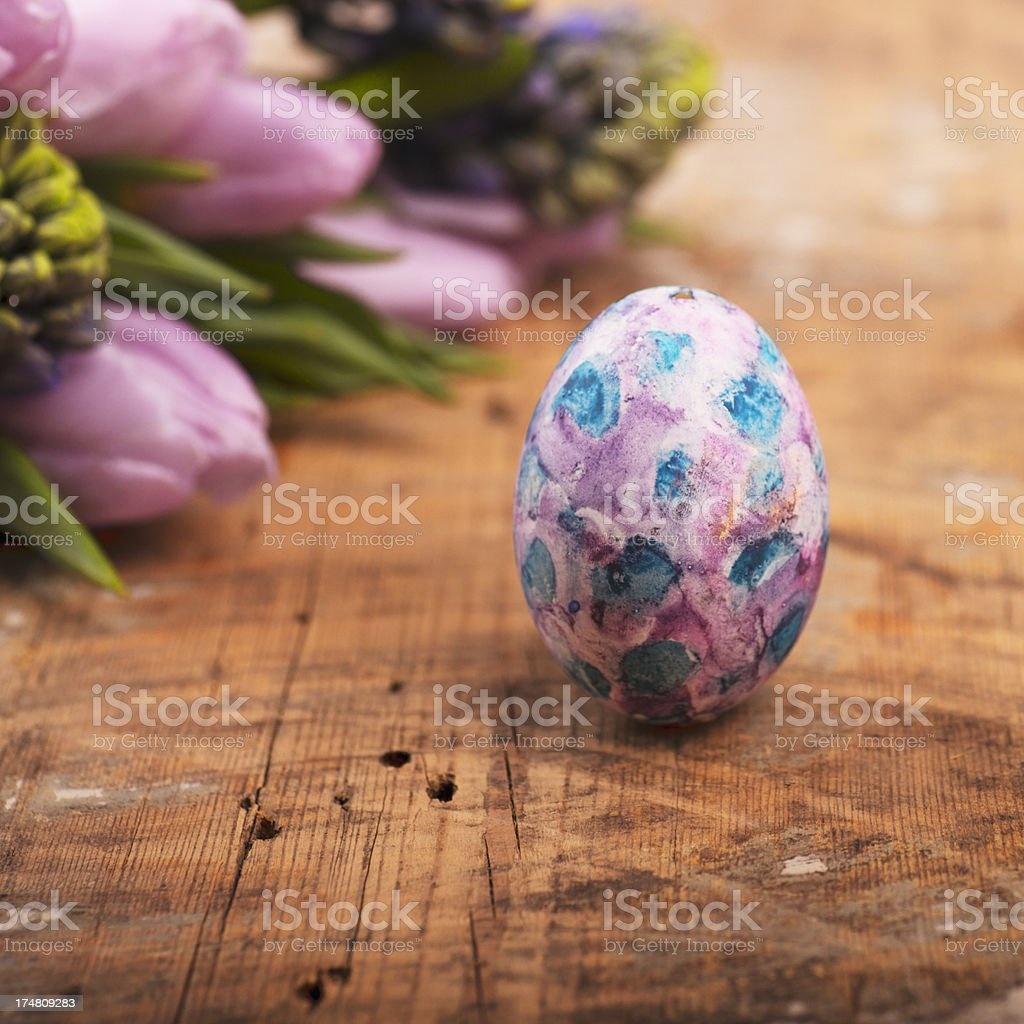 Easter egg still with flowers royalty-free stock photo