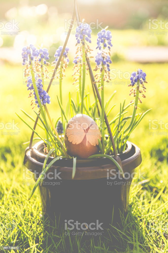 Easter Egg with Blue Flowers stock photo