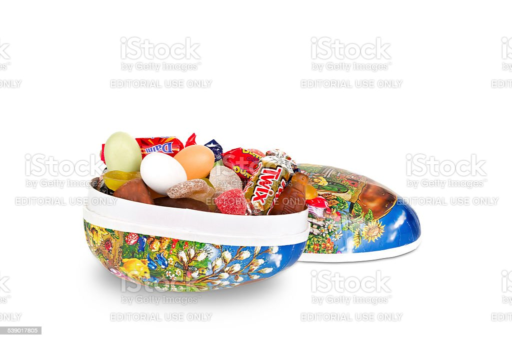 Easter egg with candy stock photo