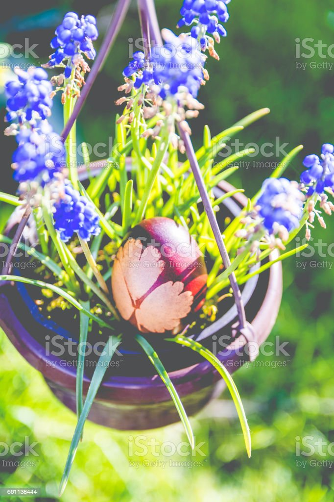 Easter Egg with Hearts on it, Easter Background stock photo