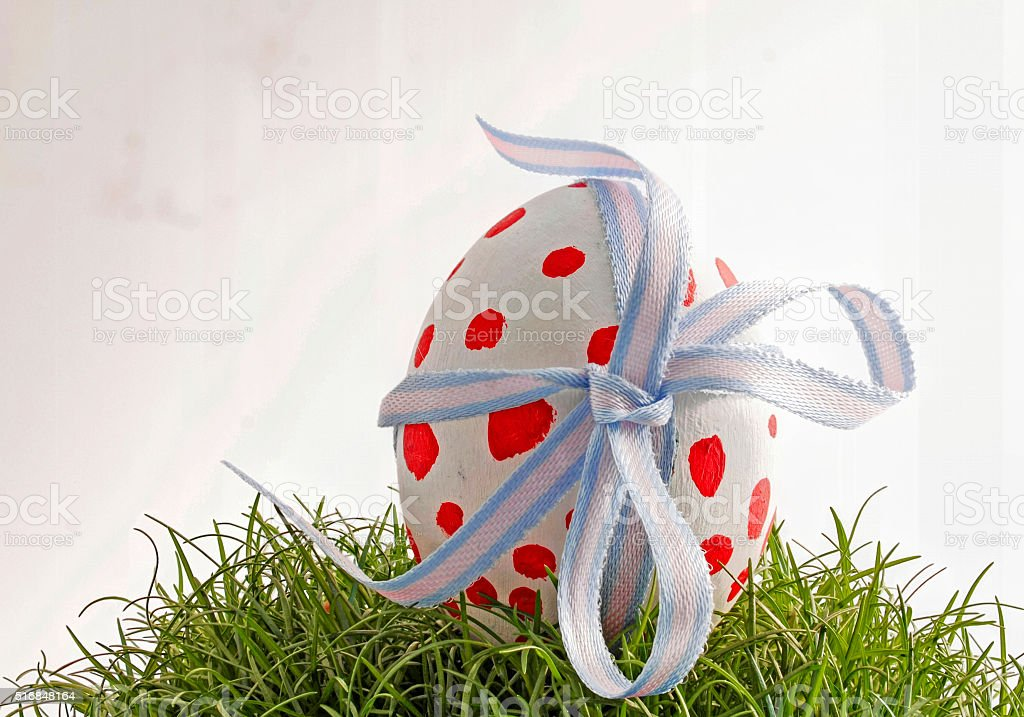 Easter egg with red dots stock photo