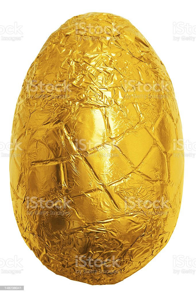 Easter egg wrapped in gold foil stock photo