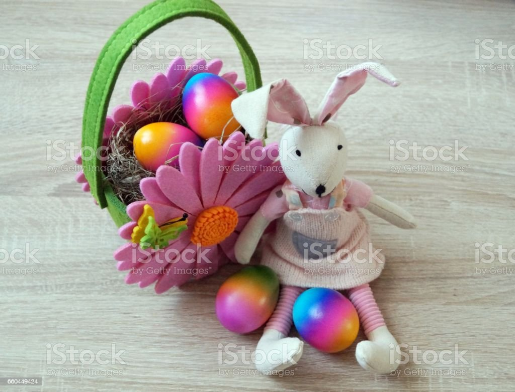 Easter eggs and a bunny stock photo