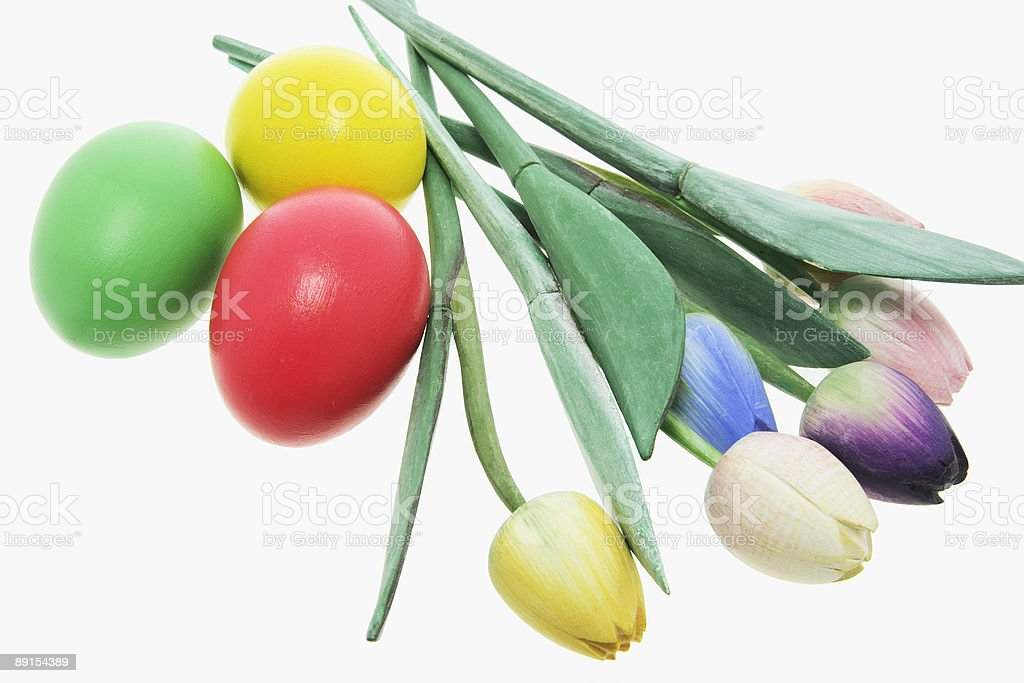 Easter Eggs and Artificial Tulips royalty-free stock photo