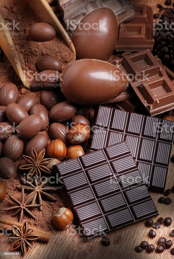 Easter eggs and assorted chocolate royalty-free stock photo