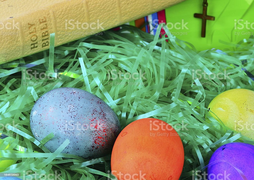 Easter Eggs and Bible royalty-free stock photo