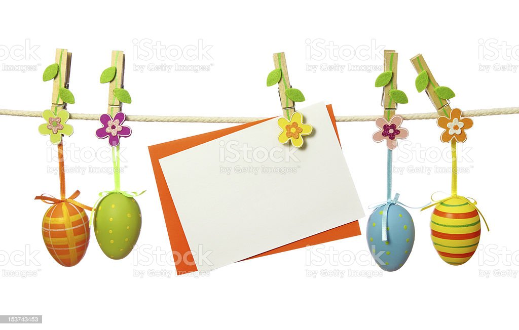 Easter eggs and blank note stock photo