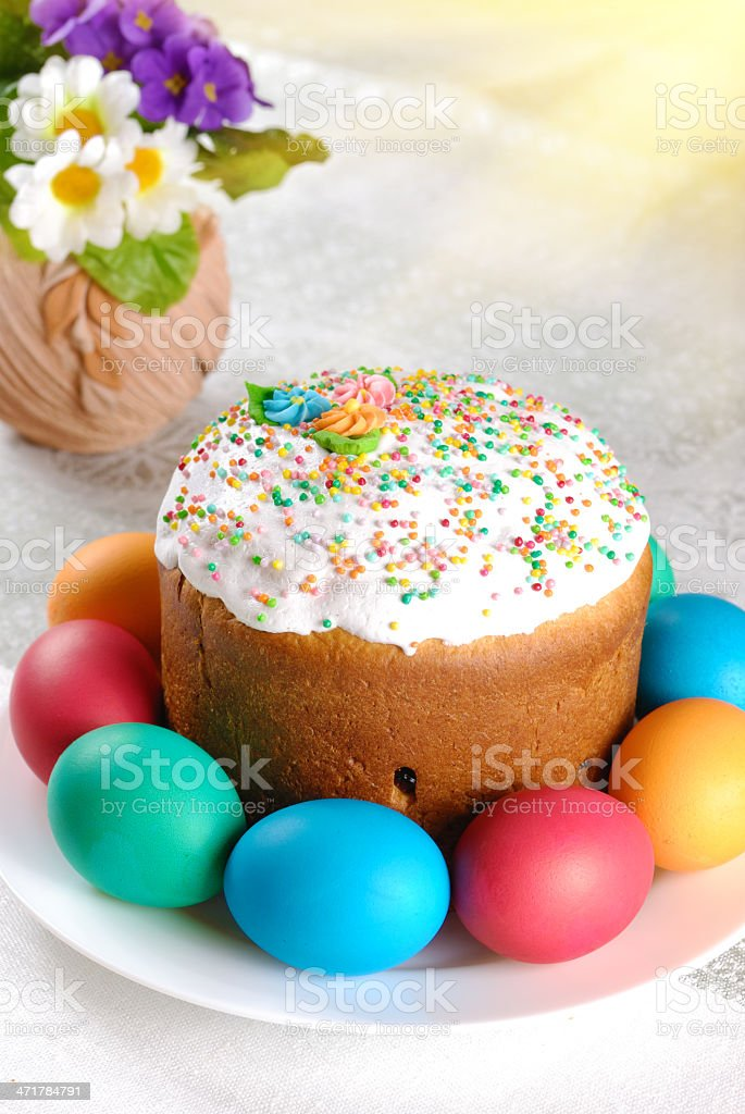 Easter eggs and cake royalty-free stock photo