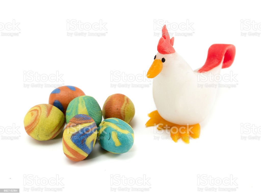 Easter eggs and Chicken royalty-free stock photo