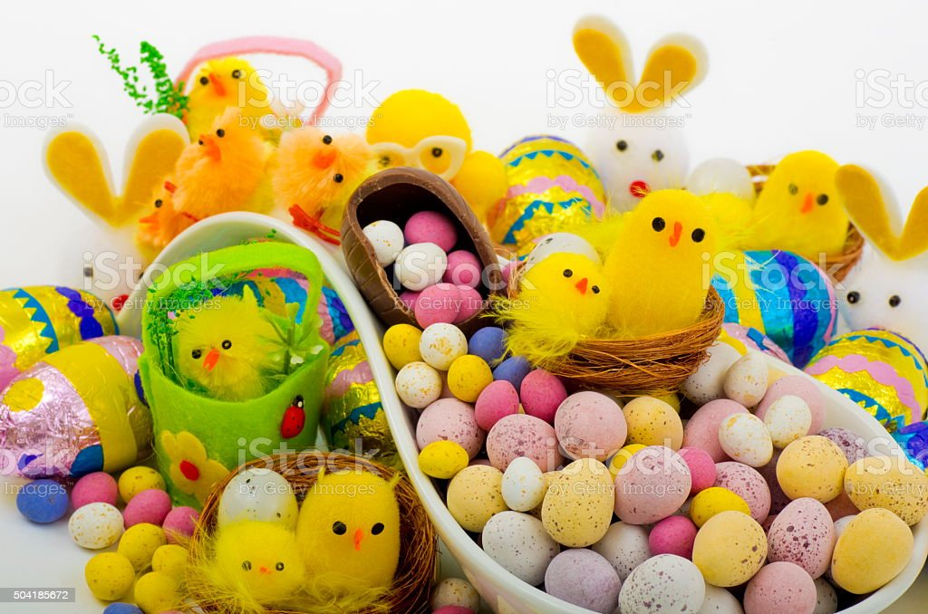 Easter Eggs and Chicks stock photo