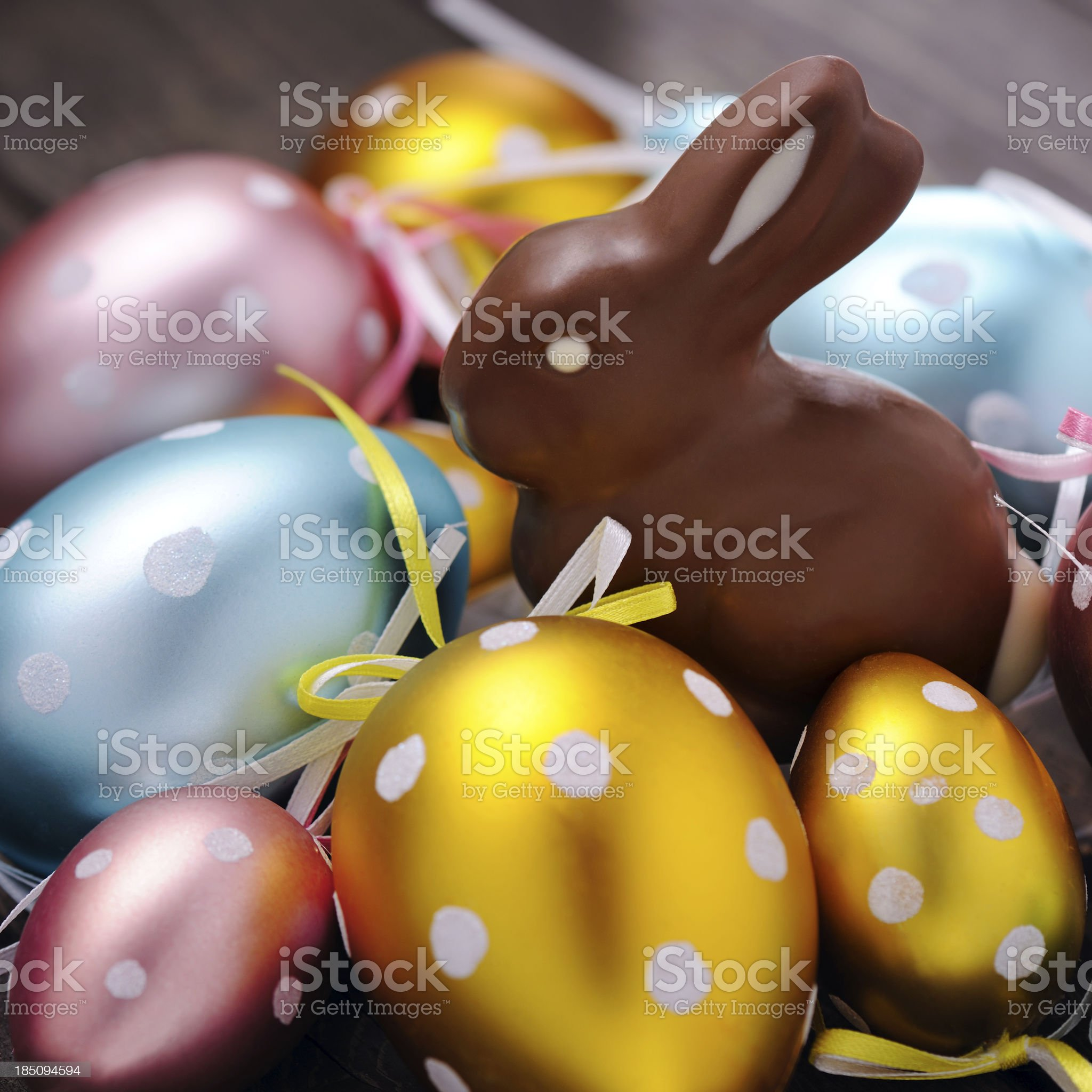 Easter Eggs and chocolate rabbit royalty-free stock photo