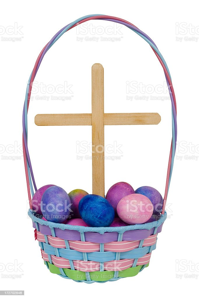 Easter Eggs and Cross stock photo