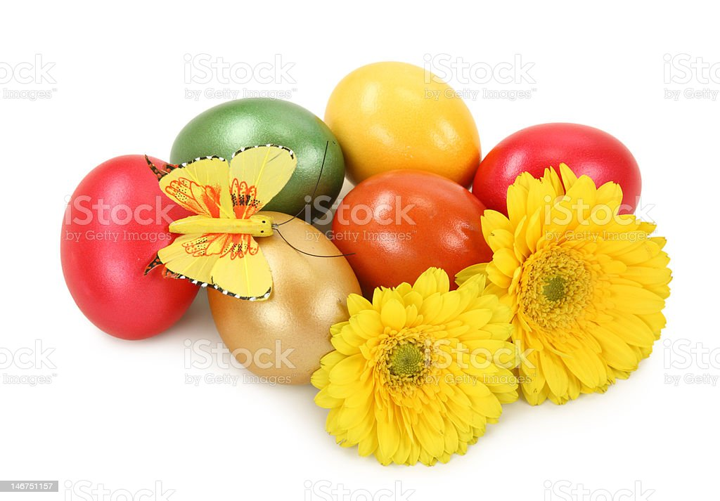 Easter eggs and flowers royalty-free stock photo