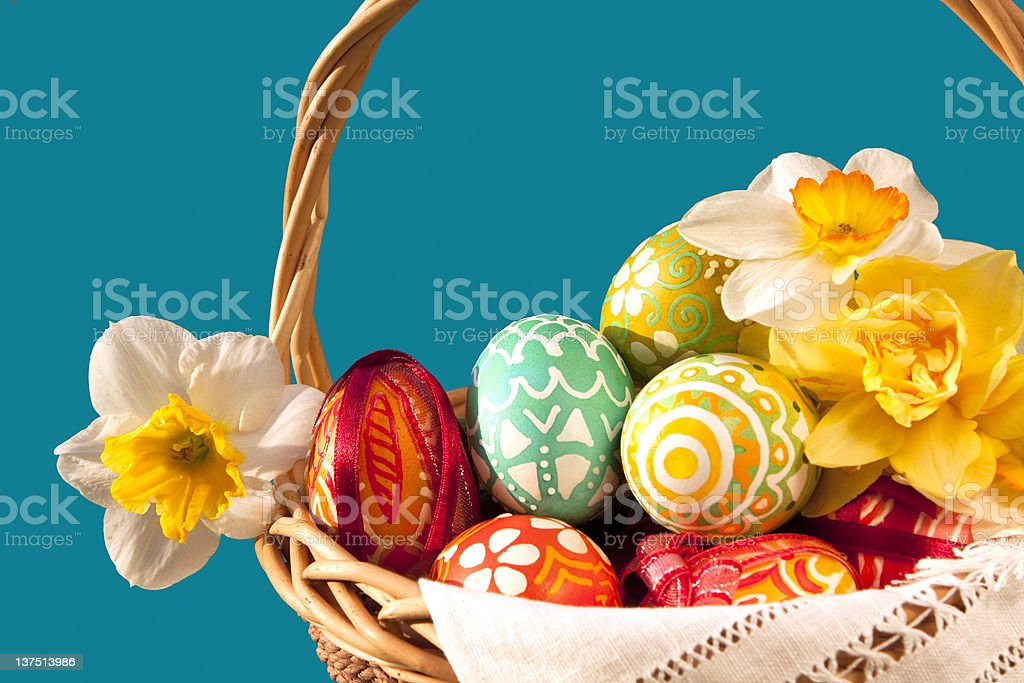Easter eggs and Springs flower. royalty-free stock photo