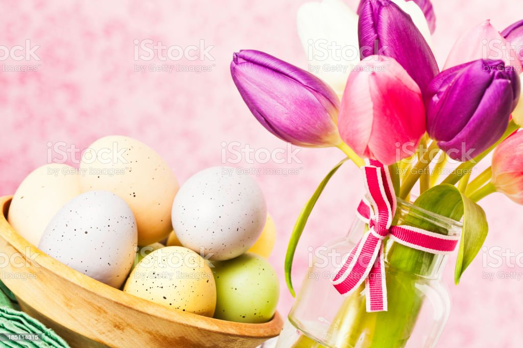 Easter Eggs and SpringTulips royalty-free stock photo