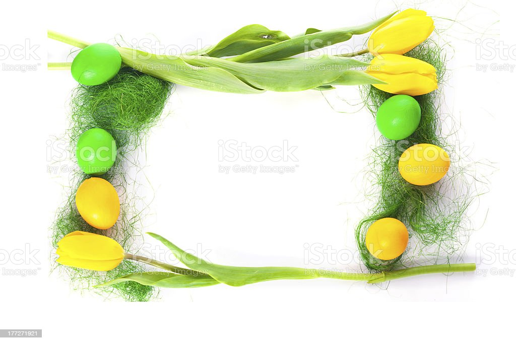 easter eggs and tulips royalty-free stock photo