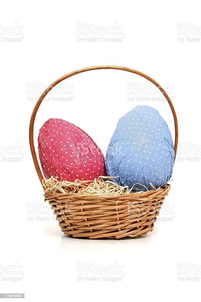 Easter eggs and wicker basket stock photo