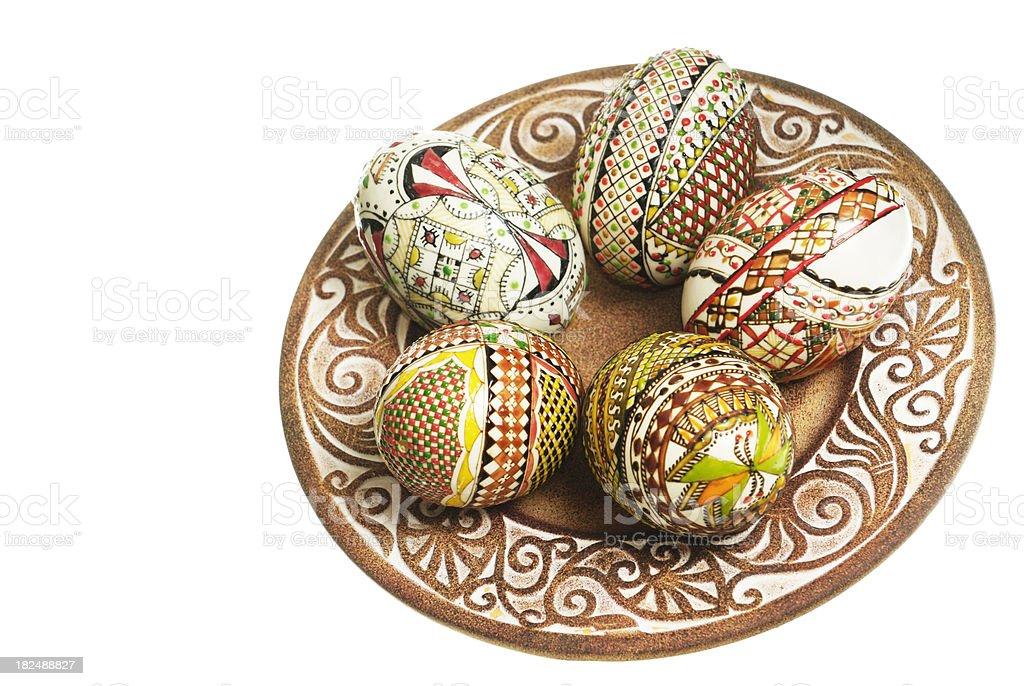 easter eggs arrangement stock photo