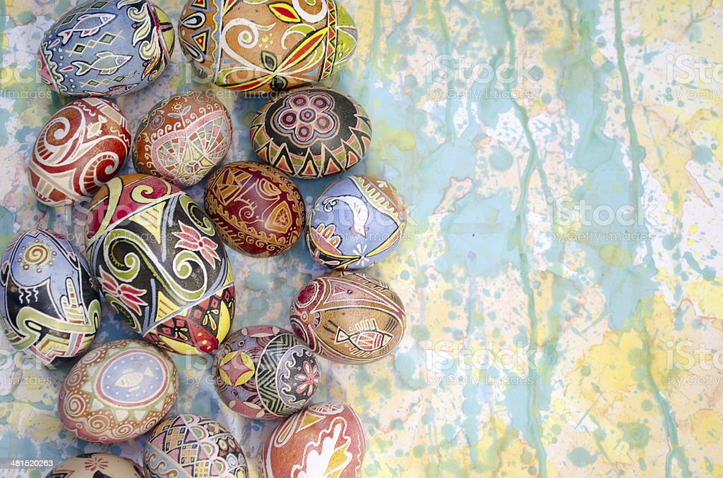 Easter eggs background paint stock photo
