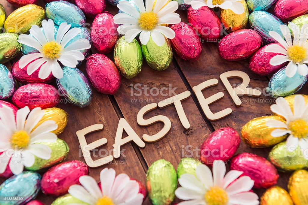 easter eggs background with copyspace stock photo