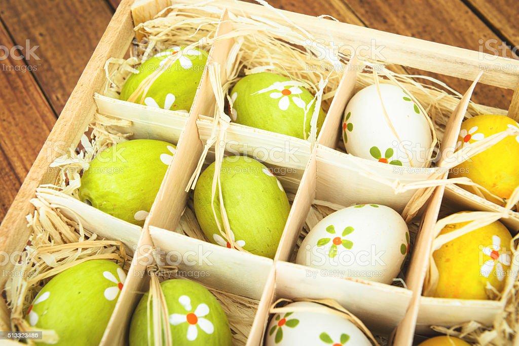 easter eggs basket stock photo