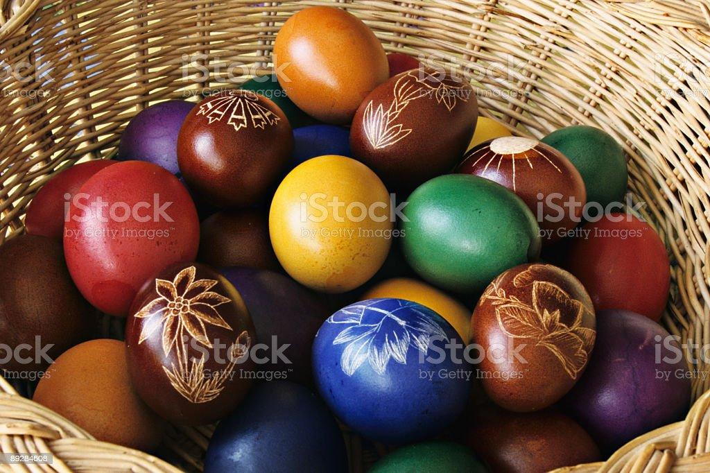 Easter eggs basket XXLarge stock photo