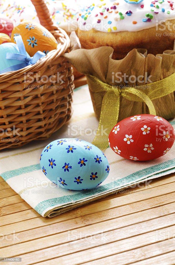 Easter eggs, cake, basket royalty-free stock photo
