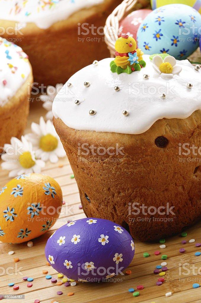 Easter eggs, cake, basket stock photo