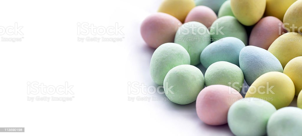 Easter eggs candy panorama stock photo