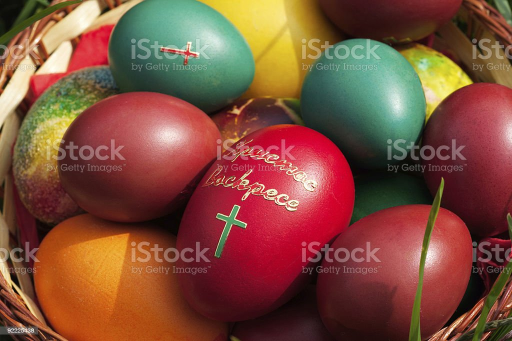 Easter eggs close-up stock photo