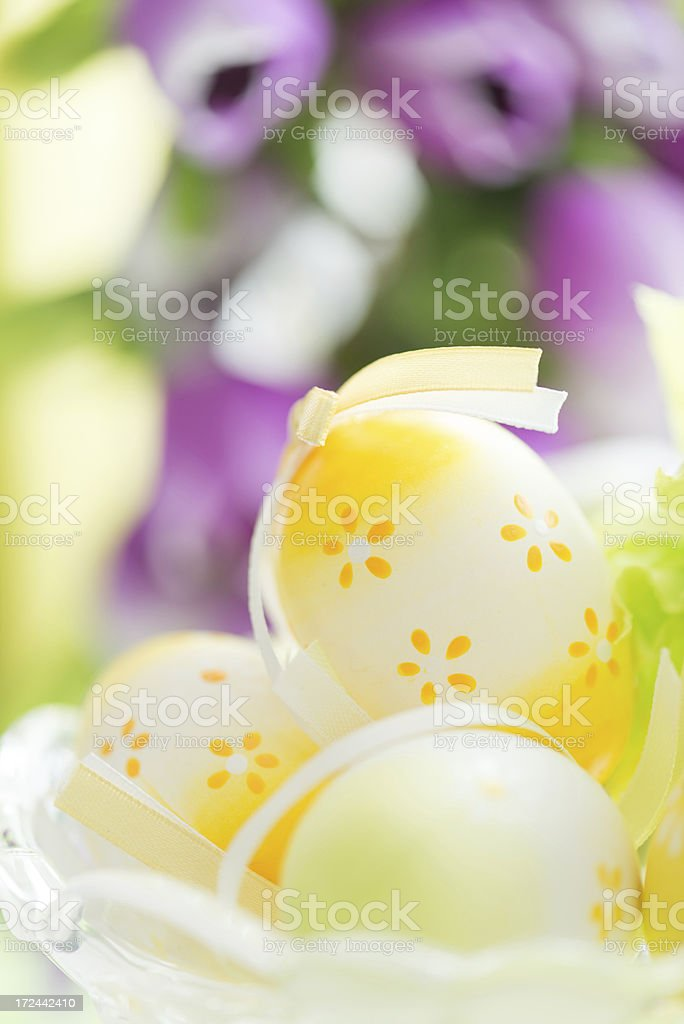 Easter eggs decorated with flowers royalty-free stock photo